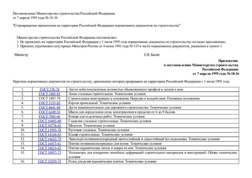 Приказ 18-36 О прекращении применения на территории Российской Федерации нормативных документов по строительству