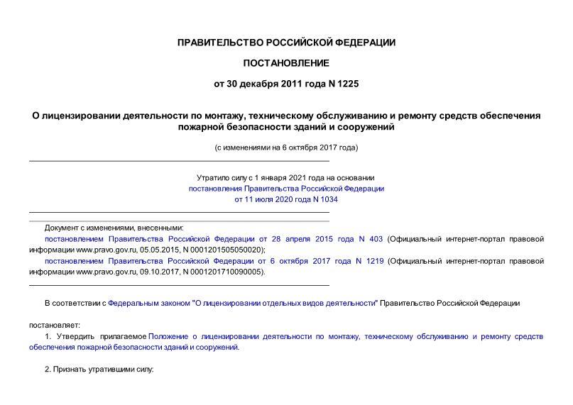 Постановление 1225 Положение о лицензировании деятельности по монтажу, техническому обслуживанию и ремонту средств обеспечения пожарной безопасности зданий и сооружений