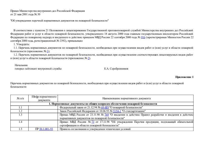 Приказ 30 Об утверждении перечней нормативных документов по пожарной безопасности