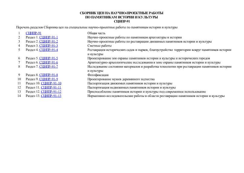 СЦНПР 91 Сборник цен на научно-проектные работы по памятникам истории и культуры