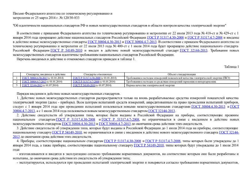 Письмо 120/30-833 Об идентичности национальных стандартов РФ и новых межгосударственных стандартов в области контроля качества электрической энергии