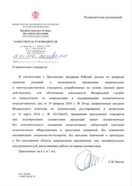 Письмо 12232/04-СМ О применении стандартов