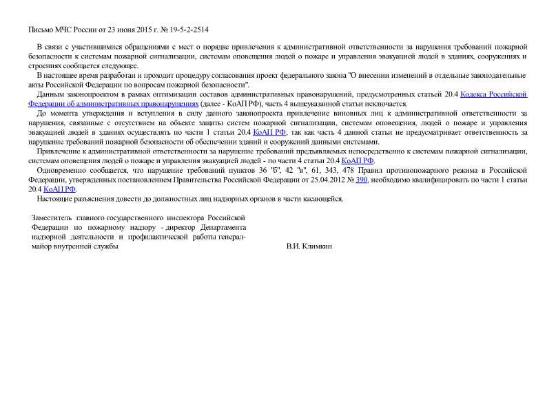 Письмо 19-5-2-2514 О порядке привлечения к административной ответственности за нарушения требований пожарной безопасности