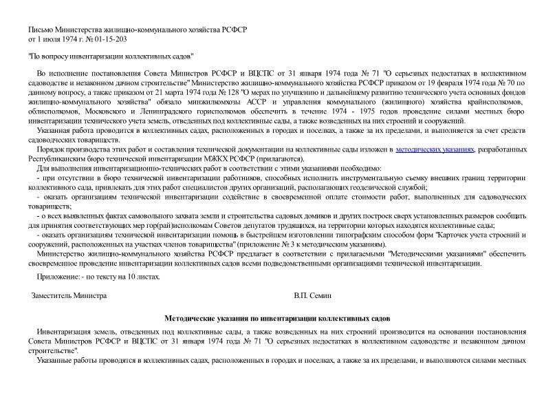 Письмо 01-15-203 По вопросу инвентаризации коллективных садов