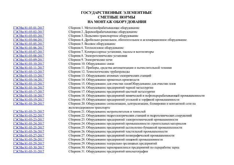 ГЭСНм 2017 Государственные элементные сметные нормы на монтаж оборудования
