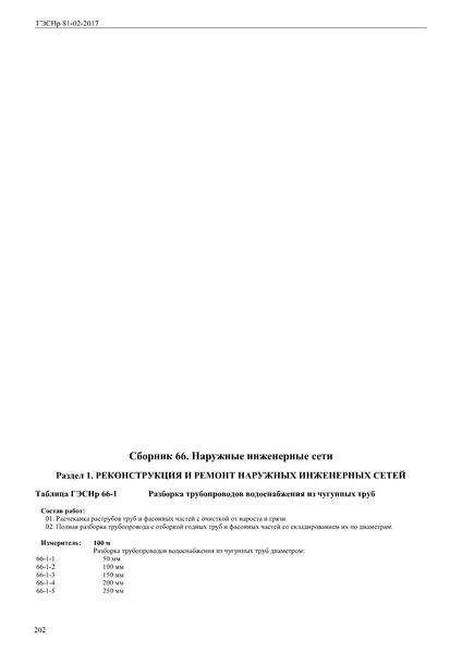 ГЭСНр 81-02-66-2017 Сборник 66. Наружные инженерные сети. Государственные элементные сметные нормы на ремонтно-строительные работы