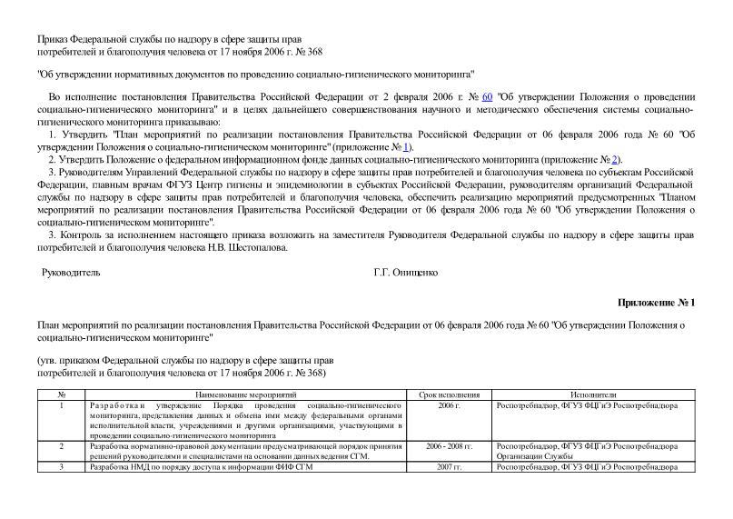 Приказ 368 Об утверждении нормативных документов по проведению социально-гигиенического мониторинга
