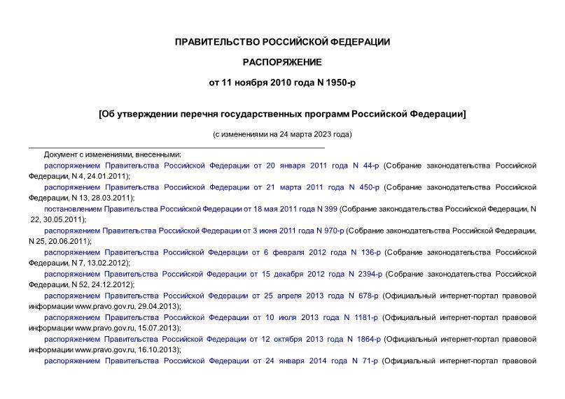 Перечень государственных программ Российской Федерации