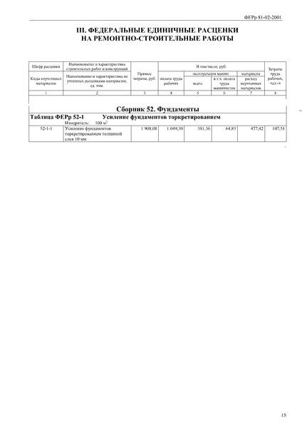Сборник 52. Фундаменты (редакция 2017 г.). Фундаменты. Федеральные единичные расценки на ремонтно-строительные работы