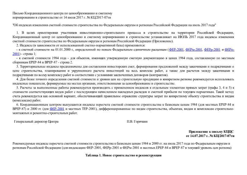 Письмо КЦ/2017-07ти Об индексах изменения сметной стоимости строительства по Федеральным округам и регионам Российской Федерации на июль 2017 года