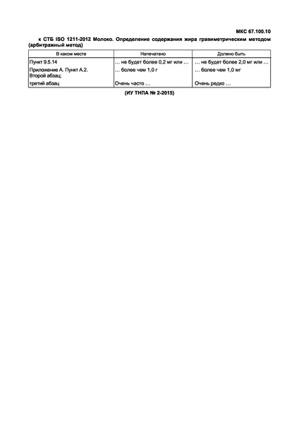 СТБ ISO 1211-2012 Молоко. Определение содержания жира гравиметрическим методом (арбитражный метод)