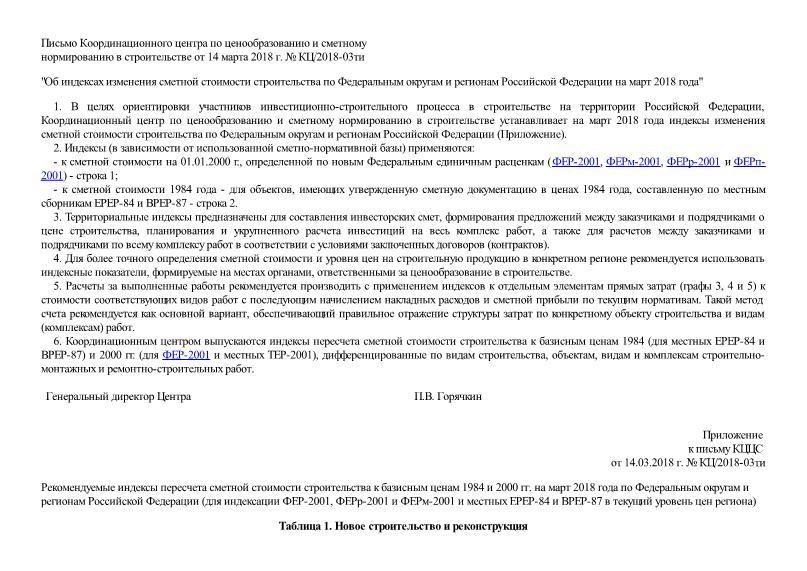Письмо КЦ/2018-03ти Об индексах изменения сметной стоимости строительства по Федеральным округам и регионам Российской Федерации на март 2018 года