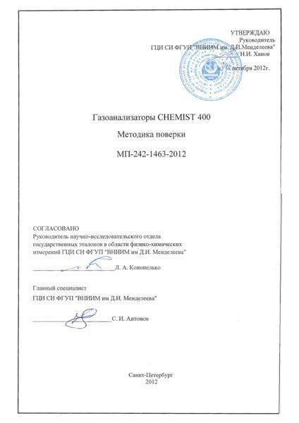 МП 242-1463-2012 Газоанализаторы CHEMIST 400. Методика поверки