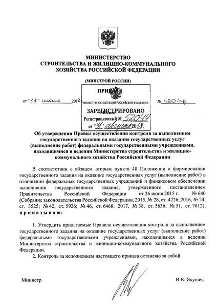 Правила осуществления контроля за выполнением государственного задания на оказание государственных услуг (выполнение работ) федеральными государственными учреждениями, находящимися в ведении Министерства строительства и жилищно-коммунального хозяйства Российской Федерации
