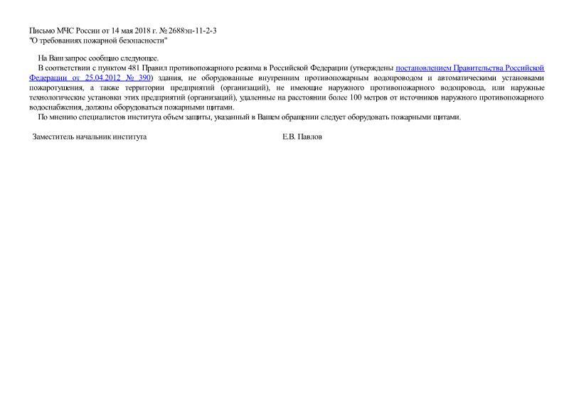 Письмо 2688эп-11-2-3 О требованиях пожарной безопасности