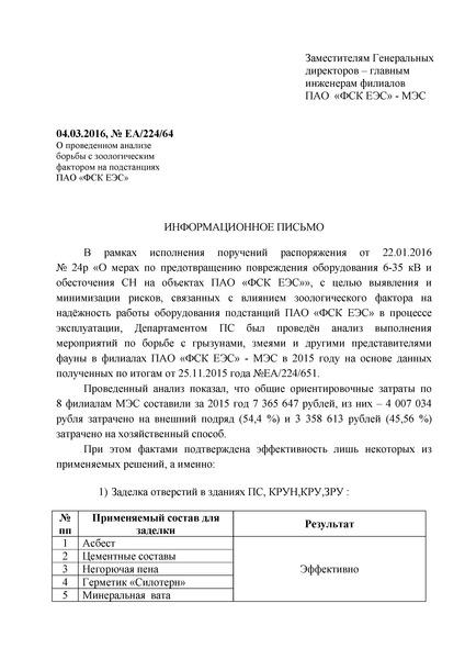Информационное письмо ЕА/224/64 Информационное письмо о проведенном анализе
