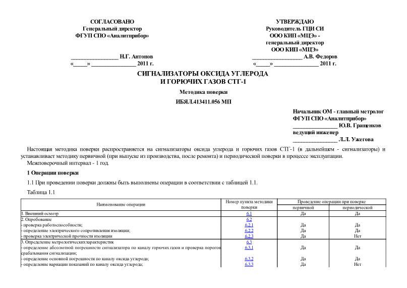 ИБЯЛ.413411.056 МП Сигнализаторы оксида углерода и горючих газов СТГ-1. Методика поверки