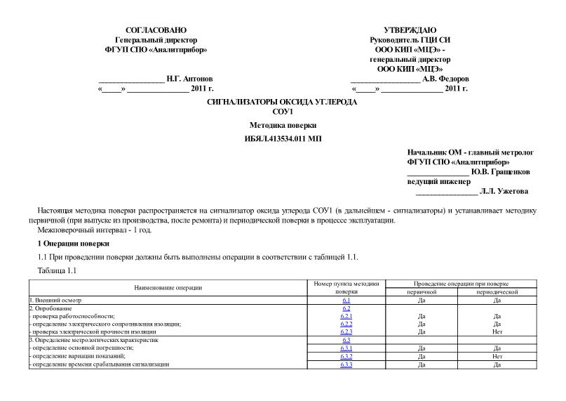 ИБЯЛ.413534.011 МП Сигнализаторы оксида углерода СОУ1. Методика поверки