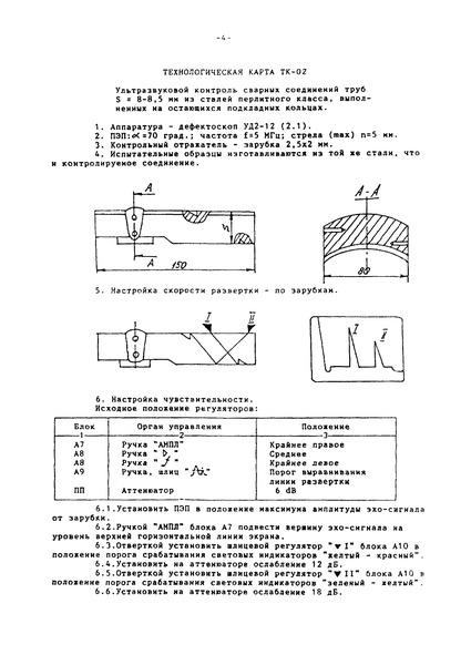 Технологическая карта ТК-02 Ультразвуковой контроль сварных соединений труб S = 8 - 8,5 мм из сталей перлитного класса, выполненных на остающихся подкладных кольцах