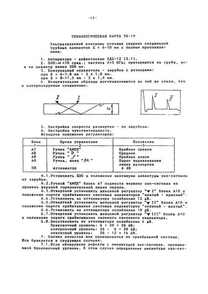 Технологическая карта ТК-19 Ультразвуковой контроль угловых сварных соединений трубных элементов S = 6 - 10 мм с полным проплавлением