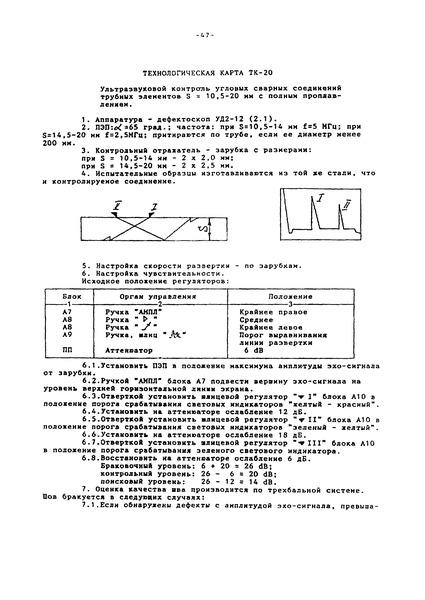 Технологическая карта ТК-20 Ультразвуковой контроль угловых сварных соединений трубных элементов S = 10,5 - 20 мм с полным проплавлением
