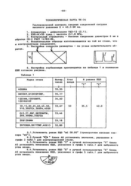 Технологическая карта ТК-34 Ультразвуковой контроль сварных соединений сосудов высокого давления S = 40,5 - 60 мм
