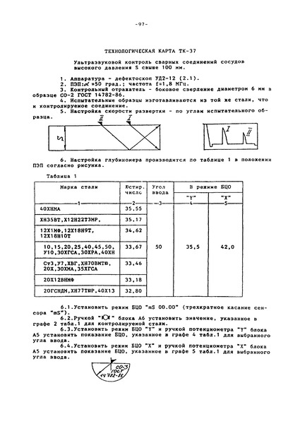 Технологическая карта ТК-37 Ультразвуковой контроль сварных соединений сосудов высокого давления S свыше 100 мм