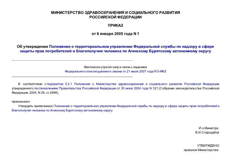 Положение о территориальном управлении Федеральной службы по надзору в сфере защиты прав потребителей и благополучия человека по Агинскому Бурятскому автономному округу