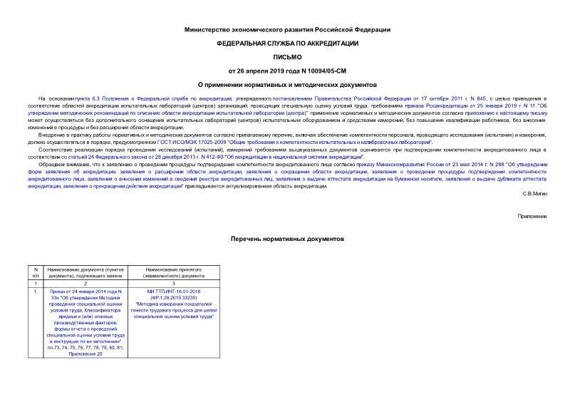 Письмо 10094/05-СМ О применении нормативных и методических документов