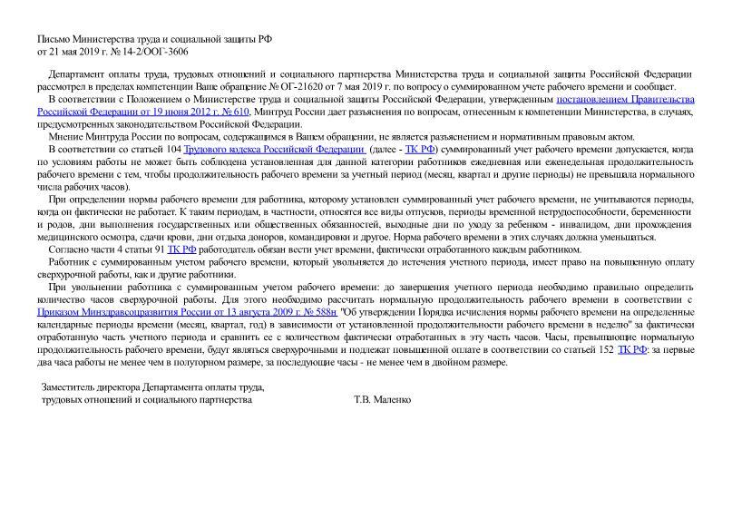 Письмо 14-2/ООГ-3606 О суммированном учете рабочего времени