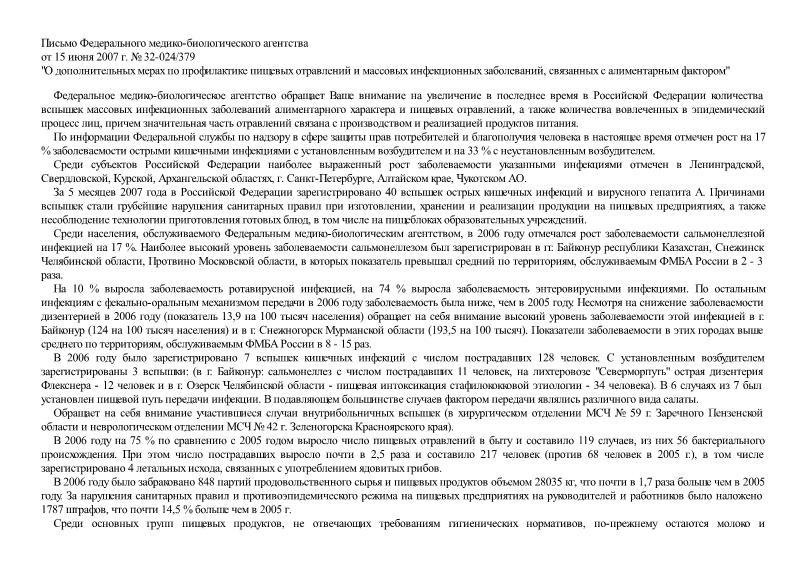 Письмо 32-024/379 О дополнительных мерах по профилактике пищевых отравлений и массовых инфекционных заболеваний связанных с алиментарным фактором