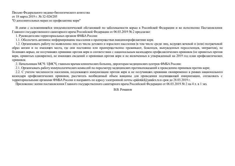 Письмо 32-024/205 О дополнительных мерах по профилактике кори