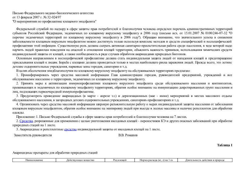 Письмо 32-024/97 О мероприятиях по профилактике клещевого энцефалита