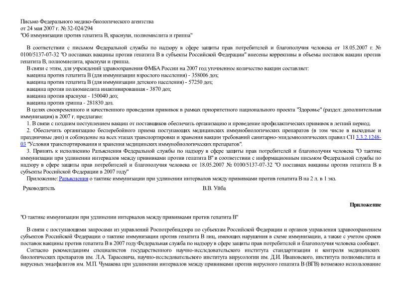 Письмо 32-024/294 Об иммунизации против гепатита В, краснухи, полиомиелита и гриппа