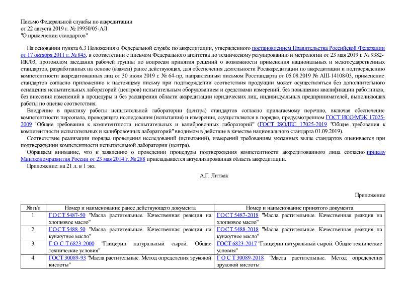 Приказ 19950/05-АЛ О применении стандартов
