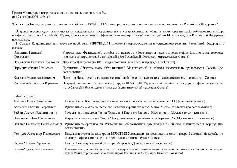 Приказ 166 О создании Координационного совета по проблемам ВИЧ/СПИД Министерства здравоохранения и социального развития Российской Федерации