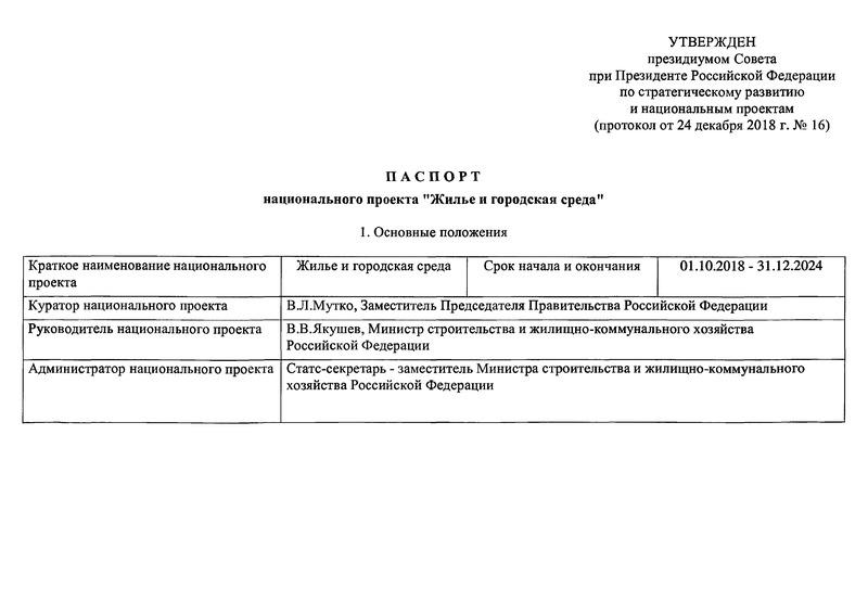 Паспорт национального проекта