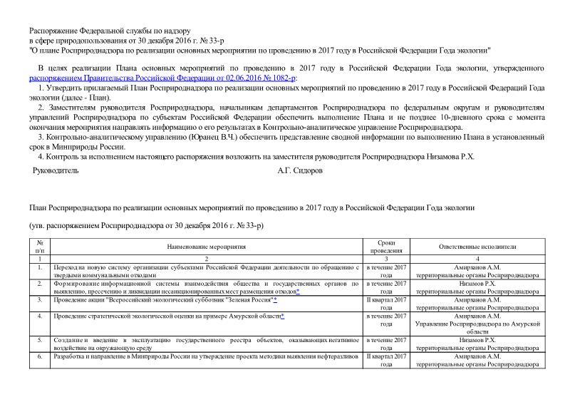 План Росприроднадзора по реализации основных мероприятий по проведению в 2017 году в Российской Федерации Года экологии