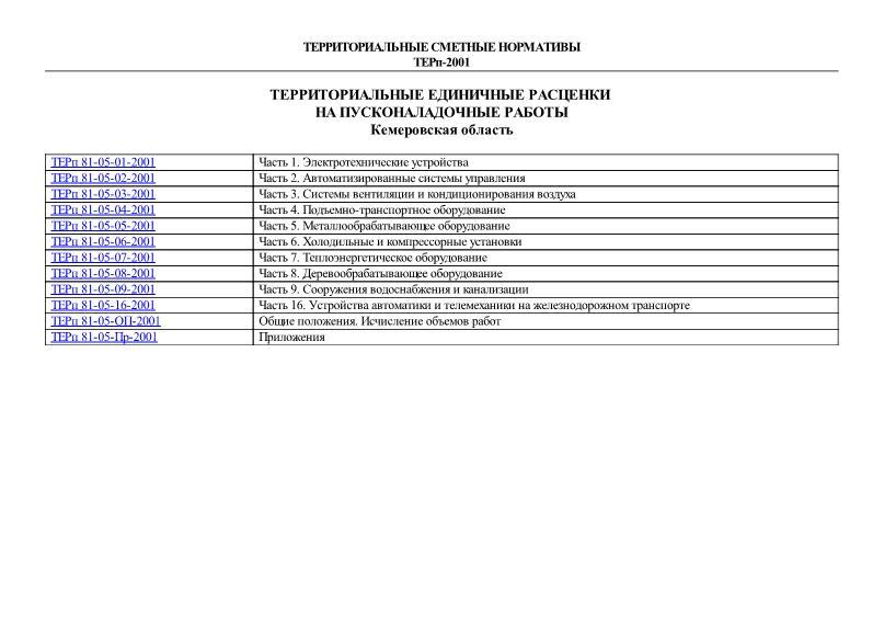 ТЕРп Кемеровская область 2001 Территориальные единичные расценки на пусконаладочные работы