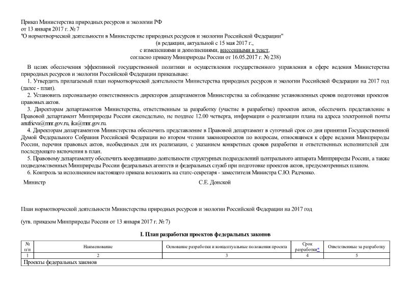 Приказ 7 О нормотворческой деятельности в Министерстве природных ресурсов и экологии Российской Федерации