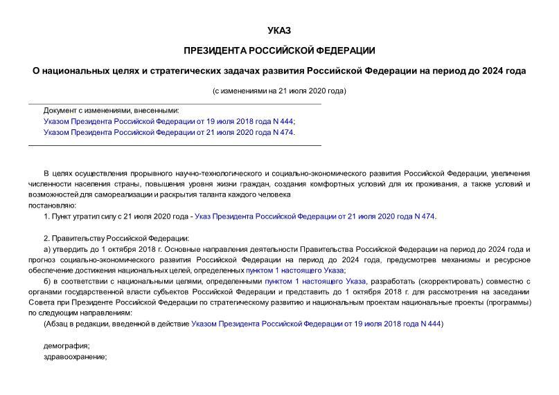 Указ 204 О национальных целях и стратегических задачах развития Российской Федерации на период до 2024 года