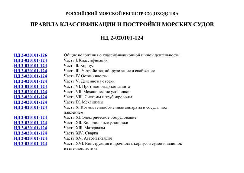 НД 2-020101-124 Правила классификации и постройки морских судов