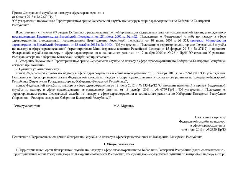 Положение о Территориальном органе Федеральной службы по надзору в сфере здравоохранения по Кабардино-Балкарской республике