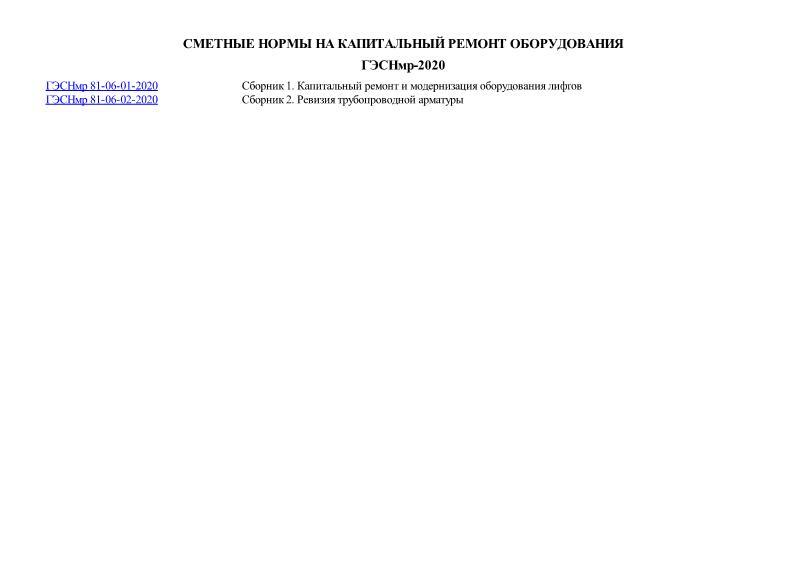 ГЭСНмр 2020 Сметные нормы на капитальный ремонт оборудования