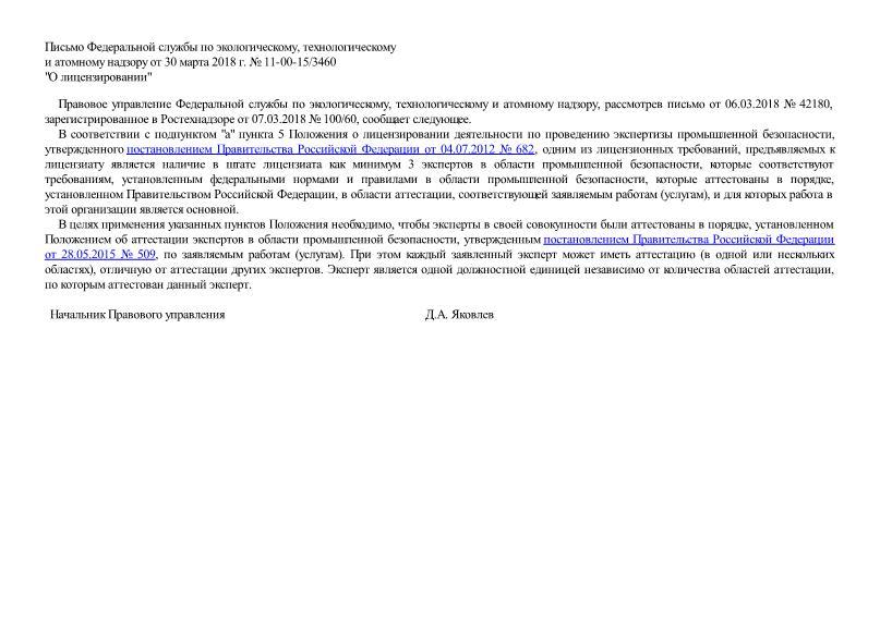 Письмо 11-00-15/3460 О лицензировании
