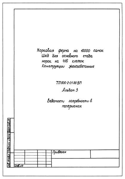 Типовой проект 806-2-21.88 Альбом 3. Ведомости потребности в материалах