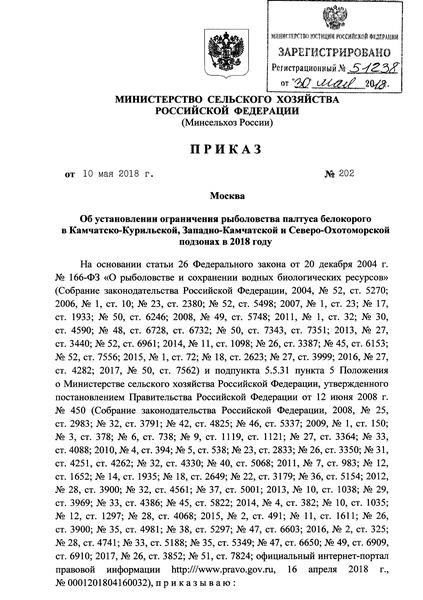 Приказ 202 Об установлении ограничения рыболовства палтуса белокорого в Камчатско-Курильской, Западно-Камчатской и Северо-Охотоморской подзонах в 2018 году