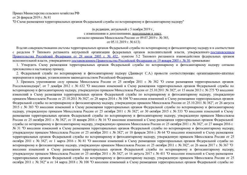 Схема размещения территориальных органов Федеральной службы по ветеринарному и фитосанитарному надзору