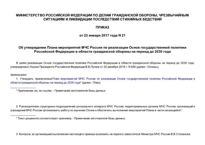 Приказ 21 План мероприятий МЧС России по реализации Основ государственной политики Российской Федерации в области гражданской обороны на период до 2030 года