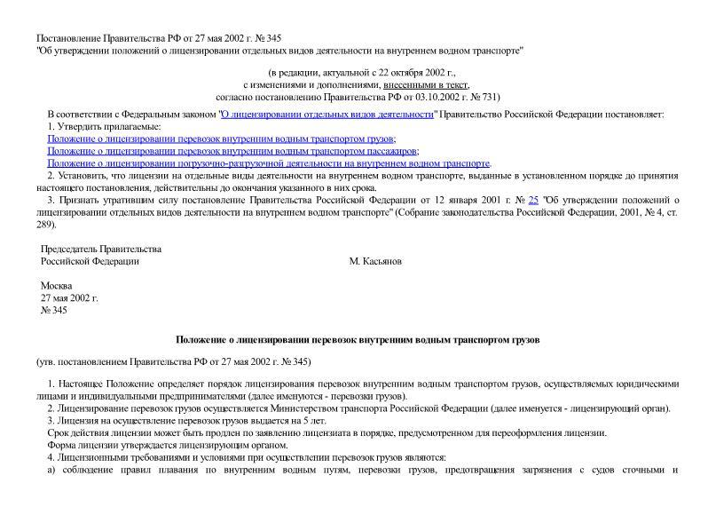 Постановление 345 Об утверждении положений о лицензировании отдельных видов деятельности на внутреннем водном транспорте